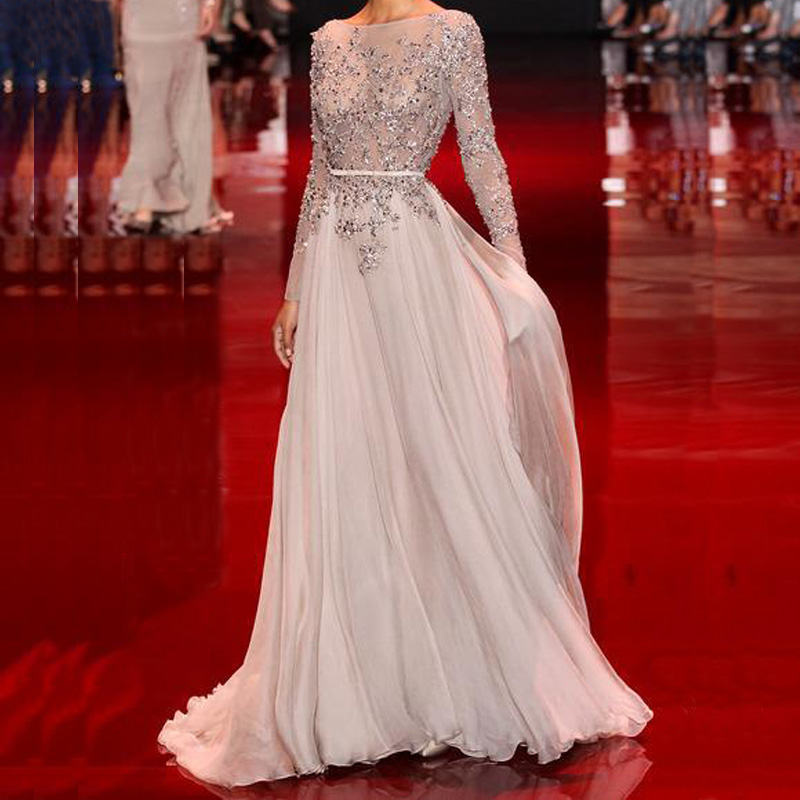 Luxury Sexy Chiffon Prom Gowns A Line Slash Neck Long Sleeve Evening Gown Sash Lace Appliques Beaded Formal Party Dresses