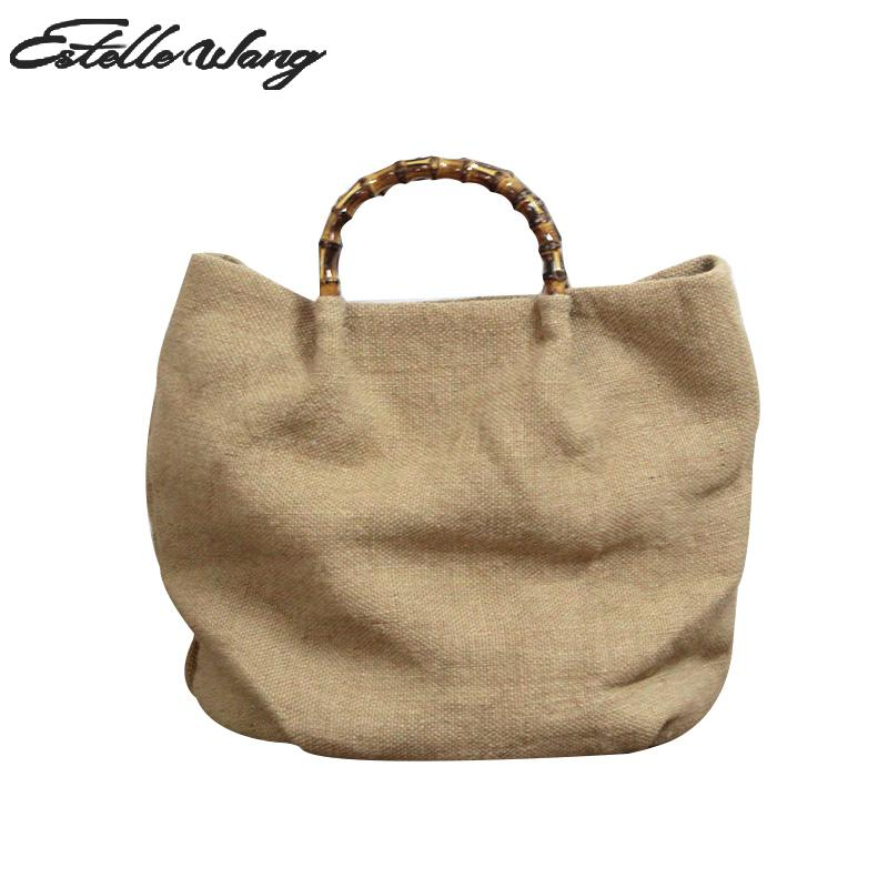 Women Retro Cotton Linen Simple Bags Leisure Ladies Single Handbag Pure color National Bamboo Hand Crossbody Bag-in Top-Handle Bags from Luggage & Bags    1