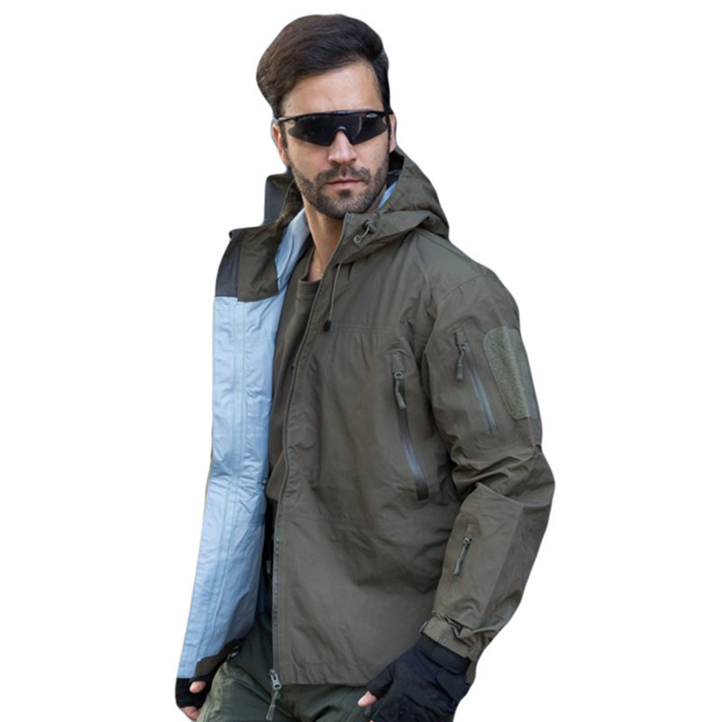 Men Tactical Hard Shell jacket Waterproof and Breathable Military Jacket Army Thin Windbreaker Hoodie Coat hoody