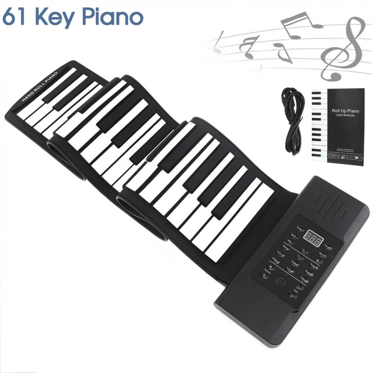 61 Keys USB MIDI Output Roll Up Piano Rechargeable Electronic Portable Silicone Flexible Keyboard Organ Built-in Speaker61 Keys USB MIDI Output Roll Up Piano Rechargeable Electronic Portable Silicone Flexible Keyboard Organ Built-in Speaker