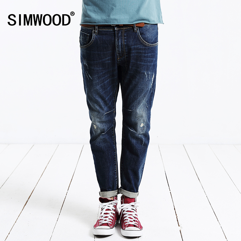 SIMWOOD 2017 new autumn winter jeans men causal fashion denim pants trousers cotton Brand Clothing High Quality  SJ6032 17 shark summer new italy classic blue denim pants men slim fit brand trousers male high quality cotton fashion jeans homme 3366