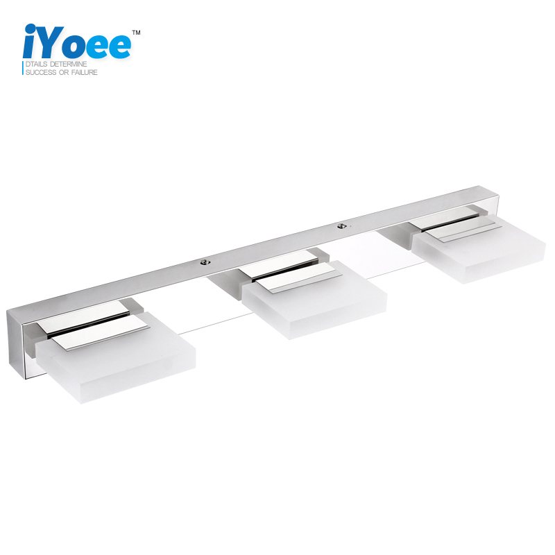 iYoee Brand 55cm 9W 4 heads LED Modern Acrylic Wall Lamp Bathroom Mirror Light , Stainless Wall Sconce , Led Light Factory modern bathroom led mirror light 520 80 75mm 90 260v 12w 4 heads aluminum acryl led wall sconce led bed lamp 100% quality guaran