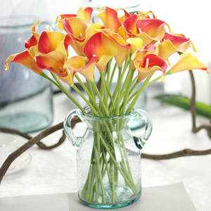 1PC PU Calla Lily Artificial Flowers Wedding Decoration Flowers Bouquets Home Autumn Decoration Artificial Plants Fake flores