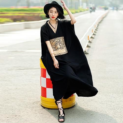 AIGYPTOS--AW Summer Women Fashion V-Neck Casual Loose Oversized Plus Size Kimono Style Embroidery Black Bourette Maxi Dress Robe summer embroidery ruffled round neck dress loose robe dress