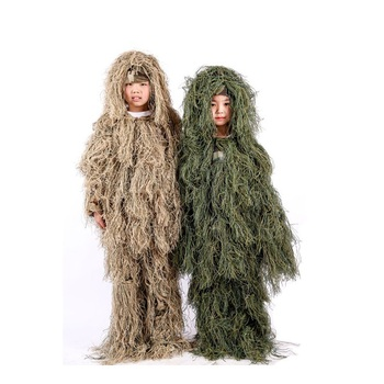 Kids Children Desert Woodland Jungle Ghillie Sniper Camo Suit Camouflage Clothes for Outdoor Sports