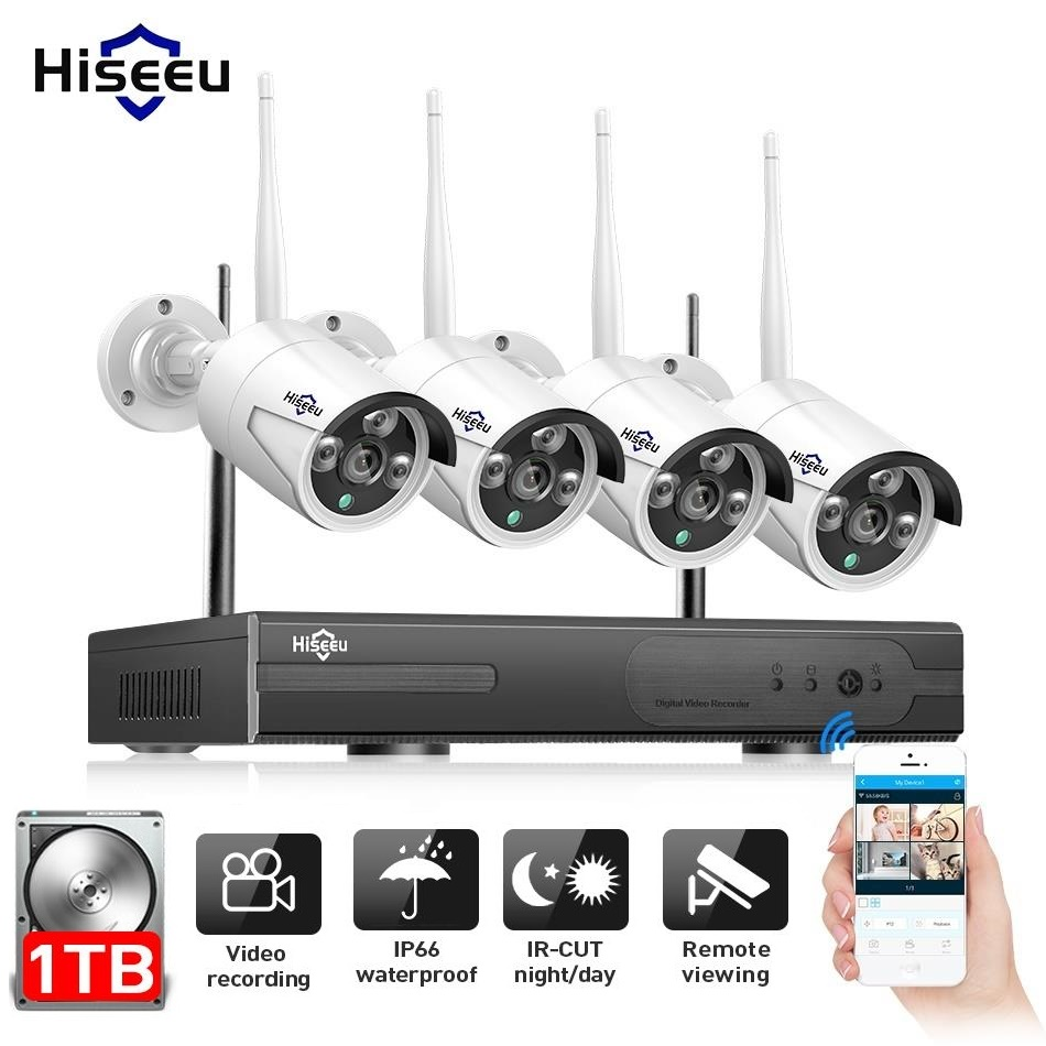 Hiseeu 4CH 960P NVR 4 STKS Outdoor IP Camera Draadloze beveiliging CCTV-systeem IR-Cut Video Surveillance CCTV-kit E-mail Alert IP Pro