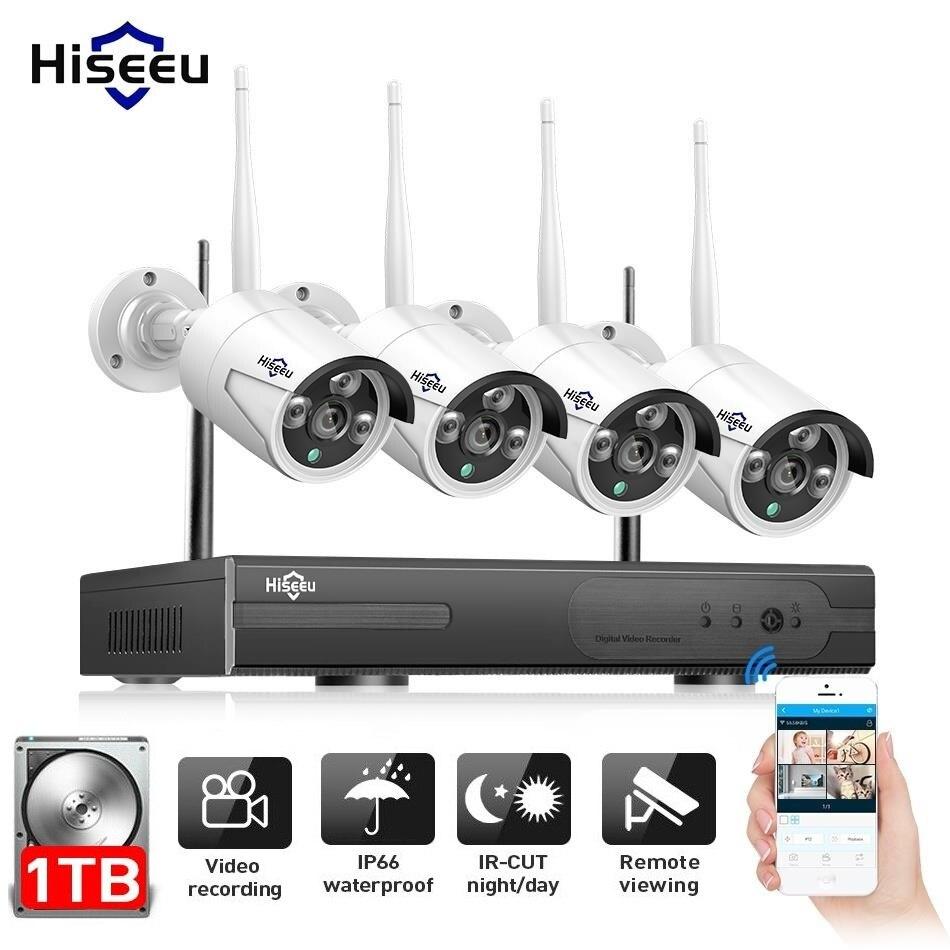 Hiseeu 4CH 960 P NVR 4 шт. наружная ip-камера Беспроводная система видеонаблюдения IR-Cut видеонаблюдение комплект видеонаблюдения e-mail оповещение IP Pro