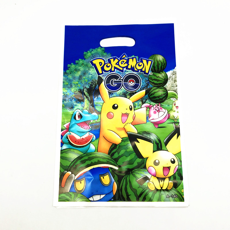 10Pcs/lot Pokemon Go Theme Cartoon Design Kids Boy Girl Birthday Party Pikachu Wedding Disposable Candy Gift Bag Snack Supplies