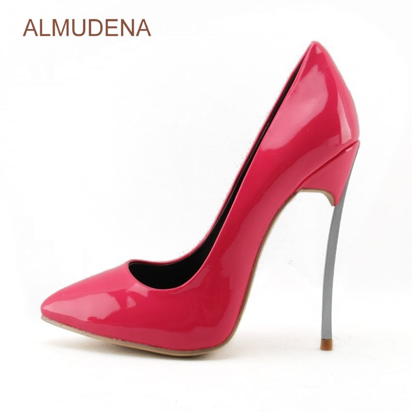 ALMUDENA Sexy Ladies Best Selling Rose Red Patent Leather Pumps Thin Metal Heel <font><b>Fuchsia</b></font> Banquet Party <font><b>Shoes</b></font> Shallow Slip-on <font><b>Shoe</b></font>