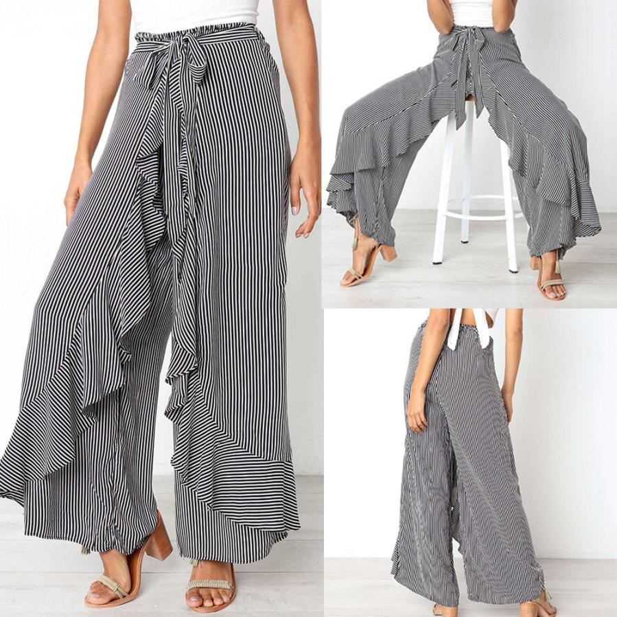 Woman   jeans   2018 Women Ladies Summer Striped Wide Leg High Waist Pants Casual Long Trousers 7.17