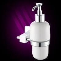 High-end badkamer hardware messing zeep dispenser/lotiondispenser, brass basis met verchroomd + frosted glazen container