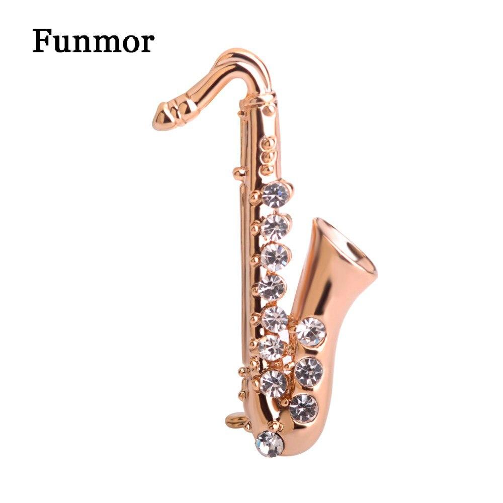 Broche musicale broches Saxophone forme Broche en cristal couleur or artiste petite icône Badge costume écharpe Bijouterie enfants chapeau Clips cadeaux