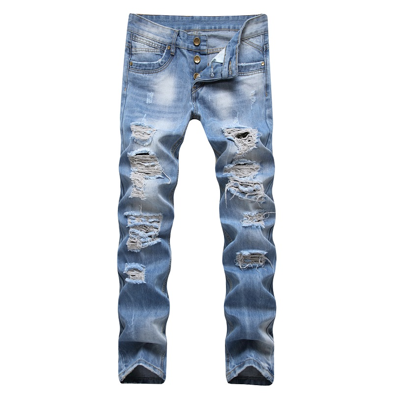 2017 Ripped Men Jeans Hip-hop INK Men Biker Skinny Punk Jeans Light Blue Brand Motorcycle Slim Fit Denim Pants Holes Men's Jeans 2017 skinny jeans men white ripped jeans for men fashion casual slim fit biker jeans hip hop denim pants motorcycle c141