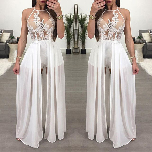 8e1585a6a3 Elegant Floral Embroidery Maxi Skirt Romper 2018 Sexy Backless Chiffon  Short Jumpsuits Overalls for Women Playsuit