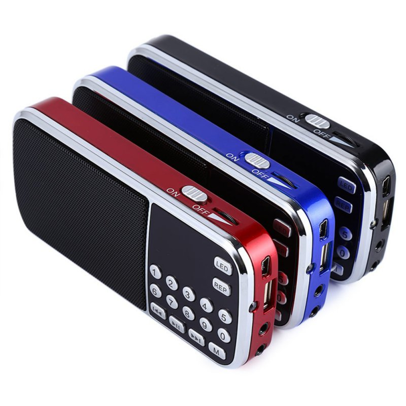 Portable Digital Stereo FM Mini Radio Speaker Music Player with TF Card USB AUX Input Sound Box