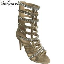 Sorbern телесного цвета сандалии-гладиаторы женские высокий каблук кристаллы заклепки обувь женские Размер 13 SilverRhinestone свадебные туфли