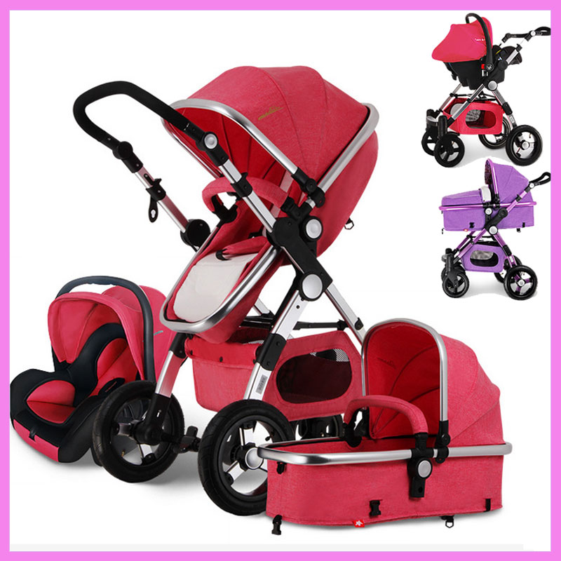 Baby Stroller 3 In 1 High View Luxury Baby Infant Carriage Stroller with Car Seat Baby Cart Car Travel System Cradle Pram Buggy baby stroller with cute ceiling swivel wheel pushchair wide seat deluxe high view traveling trolly with snack tray