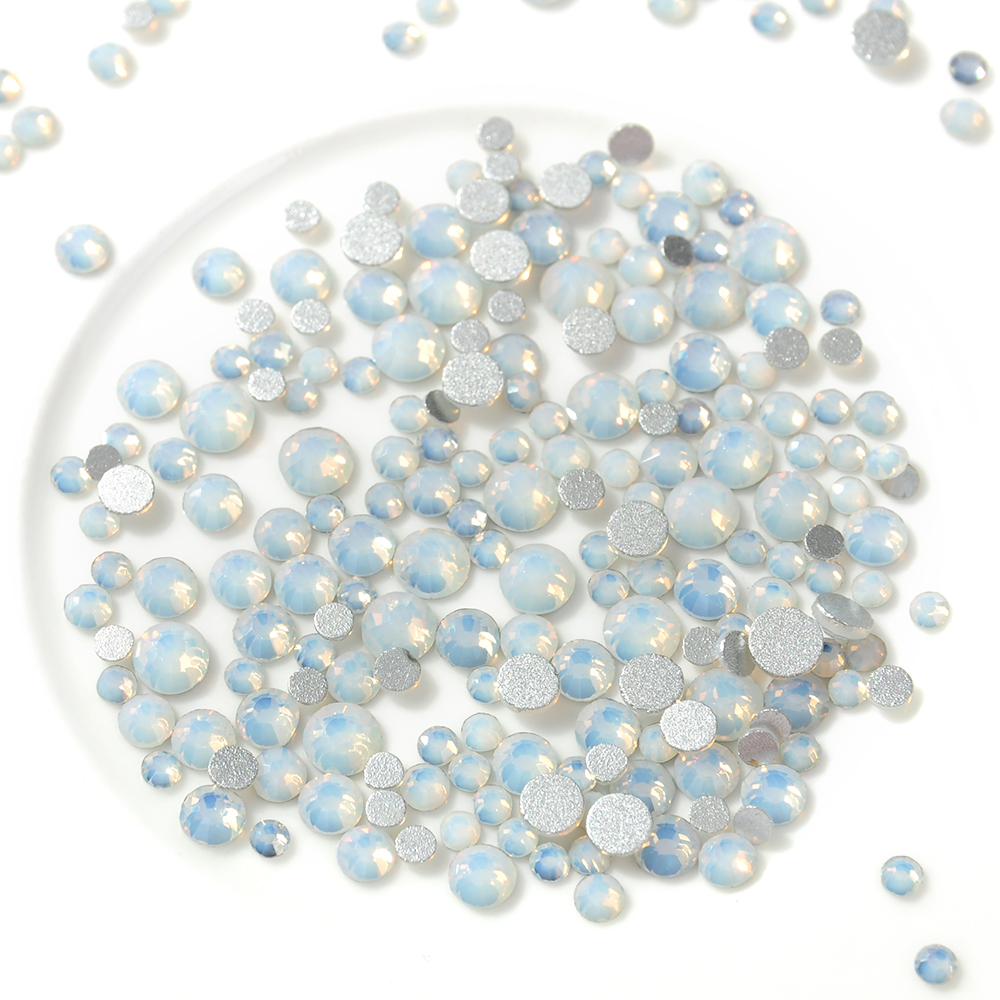 1 Pack Mix White Opal Crystal Nail Art Rhinestones 3d Charm Glass Flatback Non Hotfix DIY Nail Jewelry Sticker Decorations us art supply® brand premium high quality 5x7 white picture mat matte sets includes a pack of 25 white core bevel cut mattes for 4x6 photos pack of 25 white core backers