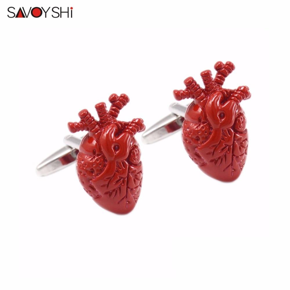 SAVOYSHI Brand Novelty Heart organ Cufflinks for Mens Shirts Cuff Accessories High Quality Enamel Cufflinks hyperbole Jewelry