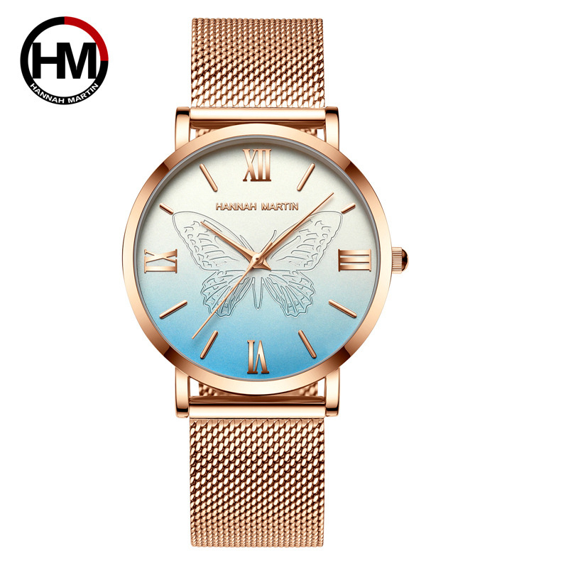 HM Hannah Martin Top Luxury Brand Fashion Women Watches For Women Wristwatch Butterfly Stainless Steel Wrist Watch Female Clock
