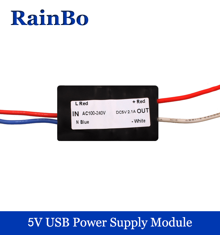rainbo  5V USB power supply module 2.1A  Mobile phone charging Input AC100~240V Output voltage DC 5V 2100mA Free Shipping USB01 nc dc dc dc adjustable voltage regulator module integrated voltage meter 8a voltage stabilized power supply