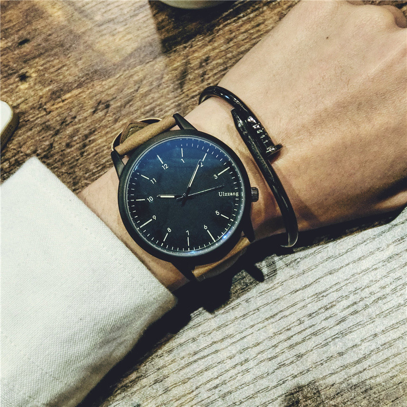 Original Ulzzang Brand Fashion Leather Classic Shockproof Quartz Wristwatches Wrist Watch for Men Women Boy Girl  classic ulzzang brand vintage genuine leather women men lovers quartz wrist watch gift black white brown