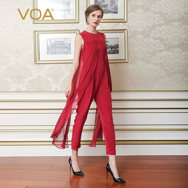 VOA Spring / Summer Heavy Pants Silk One Piece New Sleeveless Loose Silk One Piece Women Casual Pants K6580