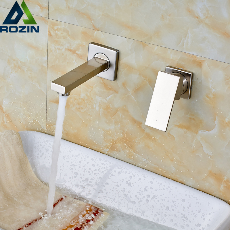 Free Shipping Dual Handle Single Handle Wall Mount Basin Faucet Brushed Nickel Hot and Cold Water Mixer Taps gizero free shipping orange spring kitchen faucet brushed nickle finish single handle hot cold water crane mixing tap gi2069