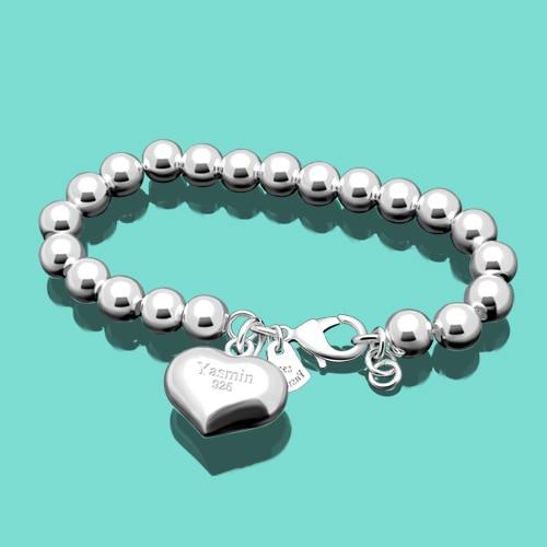 925 sterling silver bracelet for women's cute heart pendant beads bracelet female popular jewelry charm bracelets Free shipping цена
