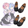 Re:Zero kara Hajimeru Isekai Seikatsu Ram Rem Kasugano Sora Women Maid Black Leather Flat Low Heel Shoes Cosplay