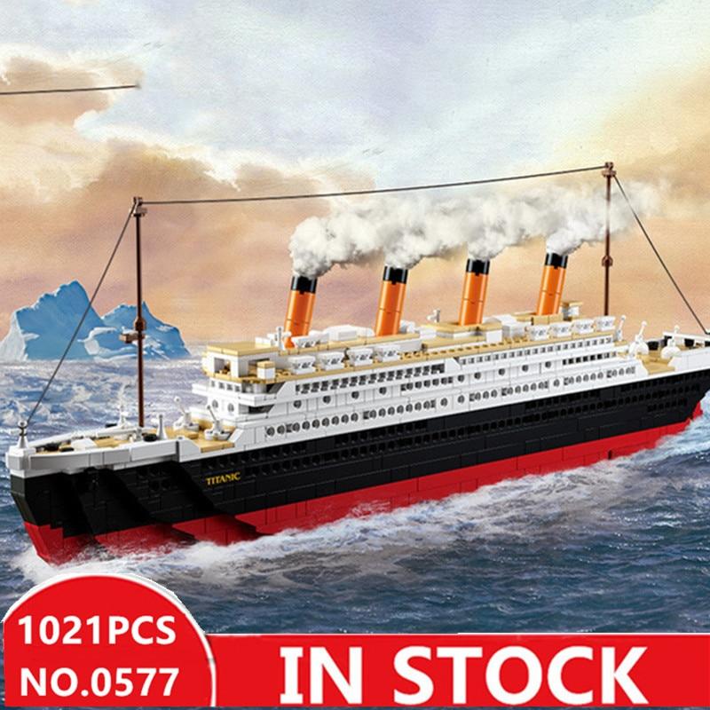 Sluban 0577 city titanic RMS Boat Ship sets model building kits blocks DIY hobbies Educational kids