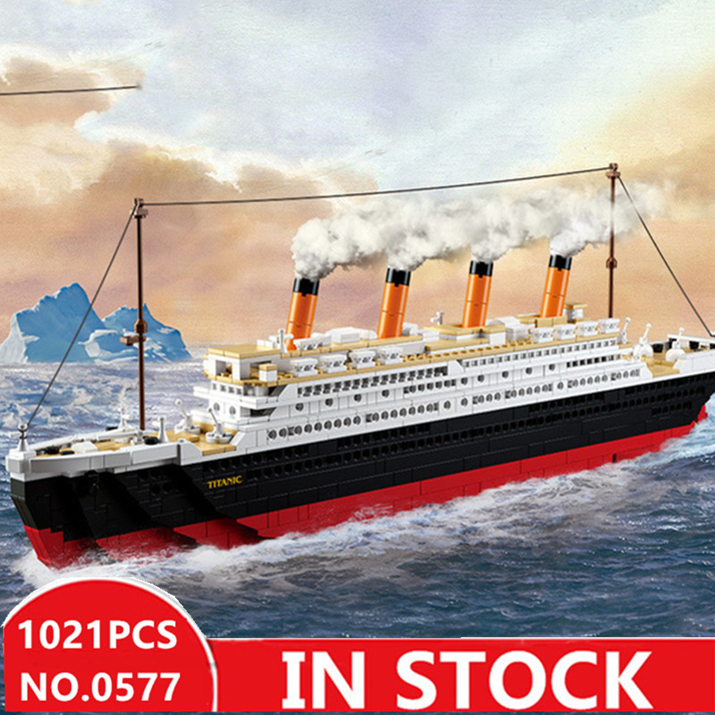 US $32 77 5% OFF|Sluban 0577 city titanic RMS Boat Ship sets model building  kits blocks DIY hobbies Educational kids toys for children-in Blocks from