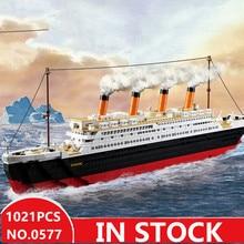 Sluban 0577 legoed city titanic RMS лодка корабль наборы Модели Строительные наборы блоки DIY хобби Развивающие детские игрушки для детей