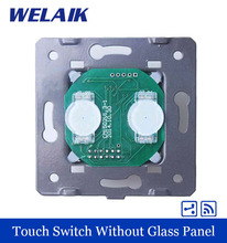 WELAIK Touch Switch DIY Parts 2gang2way FreeShipping  Wall Switch EU Remote Touch Screen Wall Light Switches f 110~250V 5A A924