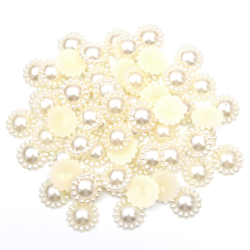 100Pcs Off-White Round Pearls Beads Craft Cabochon Flatback Decoration Embellishments For Scrapbooking Needlework Accessories(China)