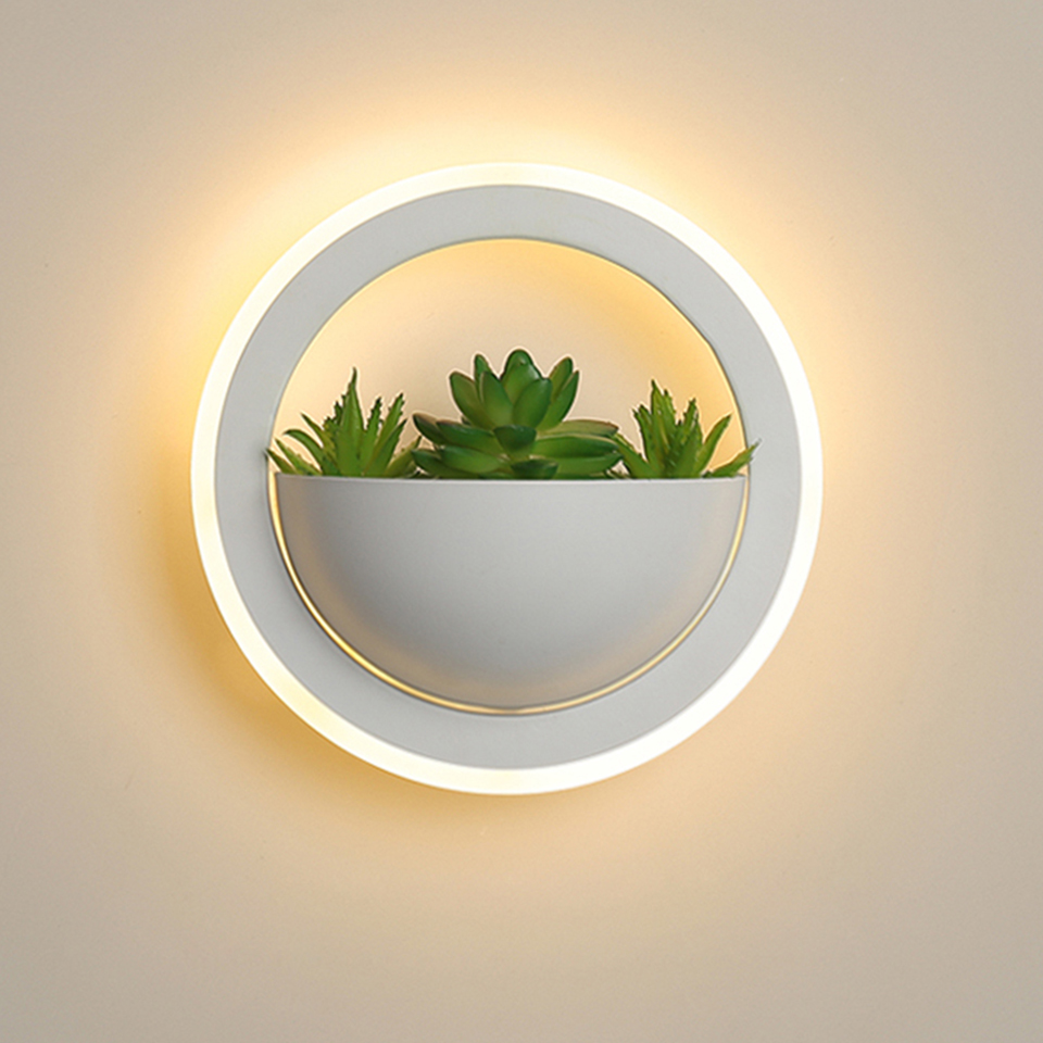 LED wall lamp 10W send simulation plant LED wall light indoor round acrylic bedroom corridor porch balcony