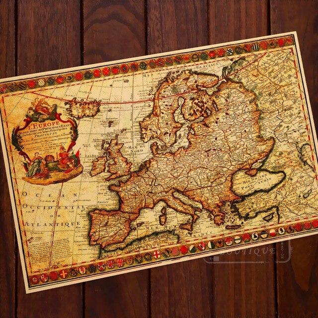 Antique Map Of Europe French Origin Map Vintage Retro Kraft - Vintage europe map poster