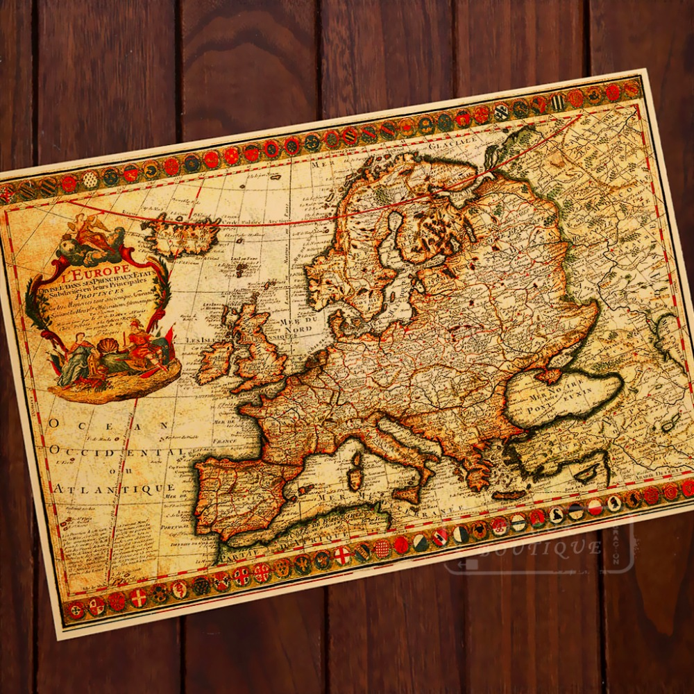 Antique Map Of Europe French Origin Map Vintage Retro ...