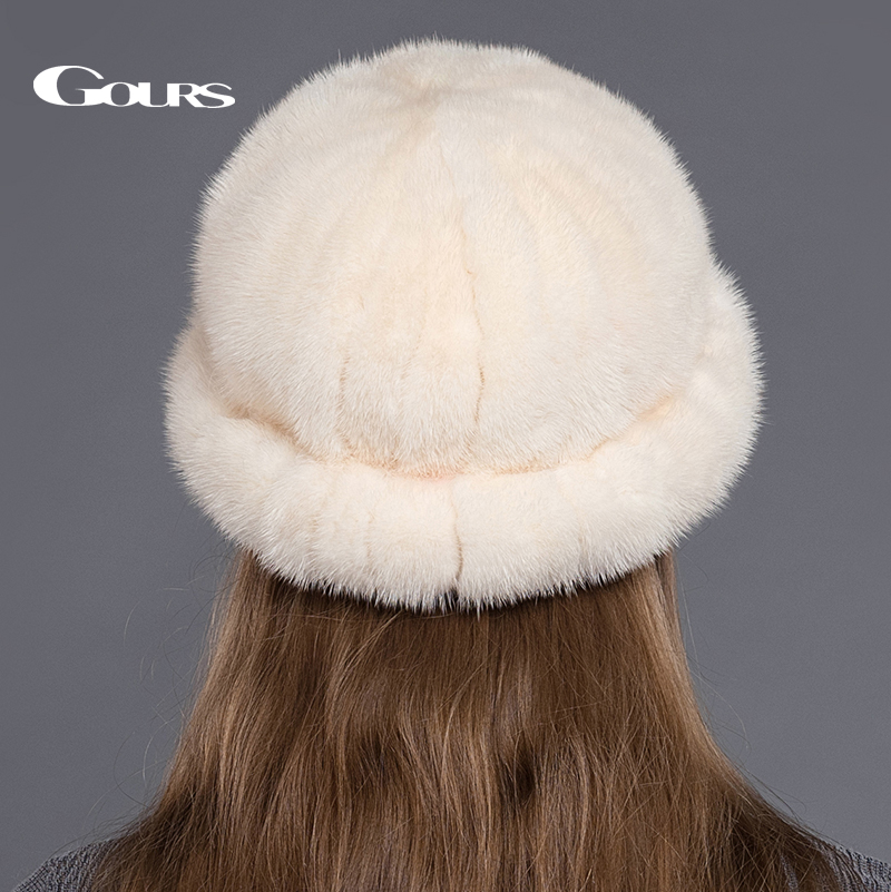 Gours Genuine Mink Fur Hats For Women Thick Warm In Russian Winter Fashion Brand High Quality Caps New Arrival