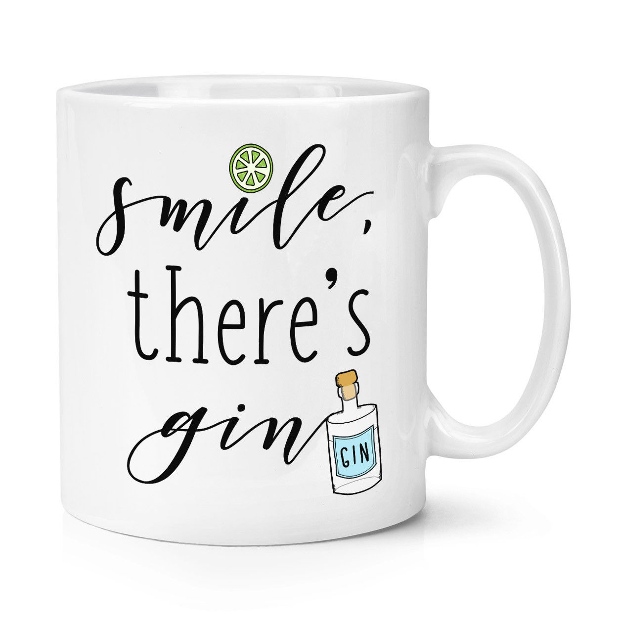 Smile There's Gin 10oz Mug Party Cocktail Funny Alcohol Tonic Ceramic Coffee Mug Tea Cup image