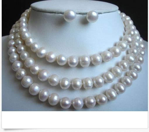 gorgeous 12-13mm baroque south sea white pearl necklace 38inch &earring 925silvergorgeous 12-13mm baroque south sea white pearl necklace 38inch &earring 925silver