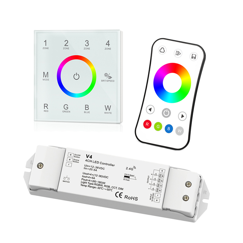 New Led rgbw Strip controller T4 Touch panel 2.4GHz RF wireless Remote 12V Led RGBW strip control V4 4CH*5A Receiver R8-1 Remote t4 cc receiver controller 2 4g wireless remote constant current led current suitable for t4 remote control free shipping