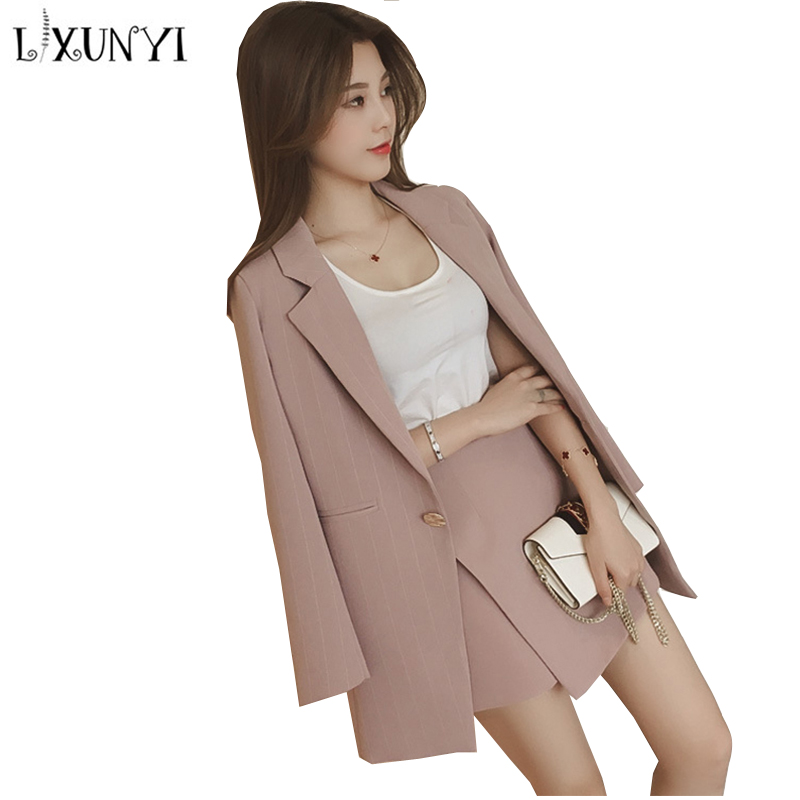 95f26ecf2 2019 New Spring Polyester Striped Skirt Shorts Blazer Suit Women 2 Piece  Set Notched Collar Matching Sets For Ladies Office Wear