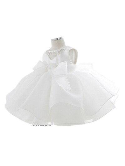 BABY WOW Newborn Baby Girls White Christening Gowns Dress Christmas Vestido 1 Years Birthday Dress for