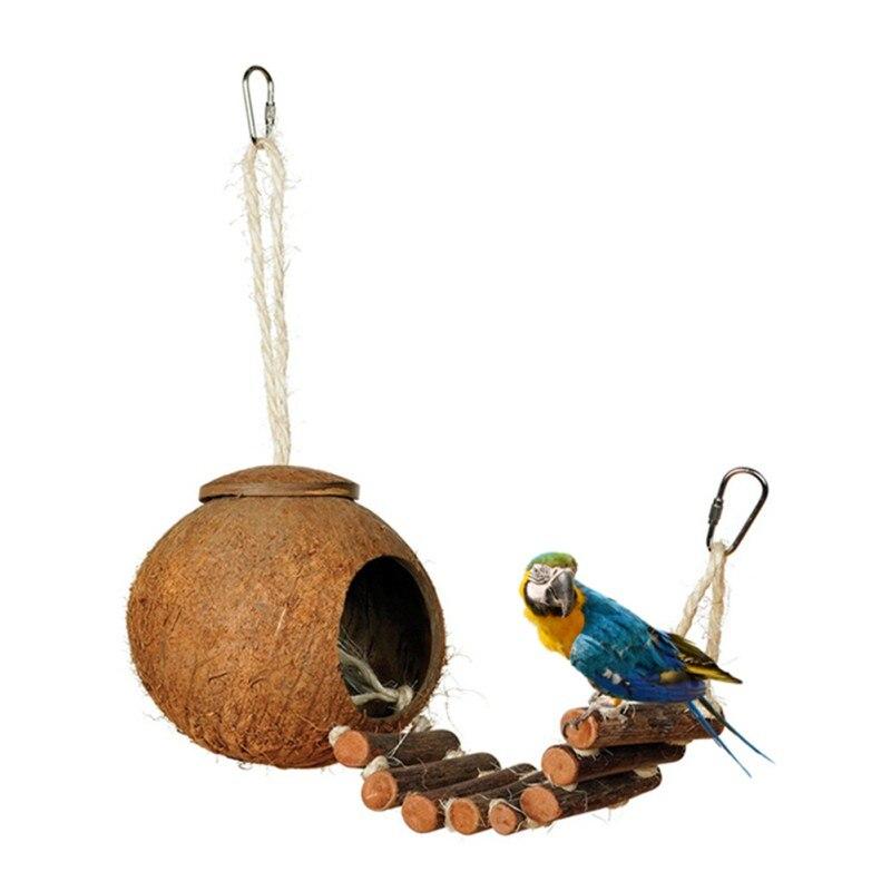 Juguetes Para Mascota Coco Nido Pájaro Pájaros Decorativos Jaula De Casa Natural Loro 08mwvnN