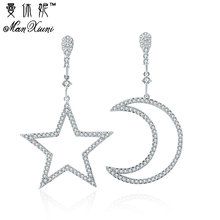 Luxury Crystal Rhinestone Stud Earrings Hollow Moon Star Earrings oorbellen Asymmetric Pendant Earring For Women Pendientes