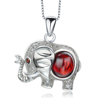 Real 925 Sterling Silver Jewelry Natural Red Garnet Stone Austrian Crystal Elephant Pendant Necklace For Women