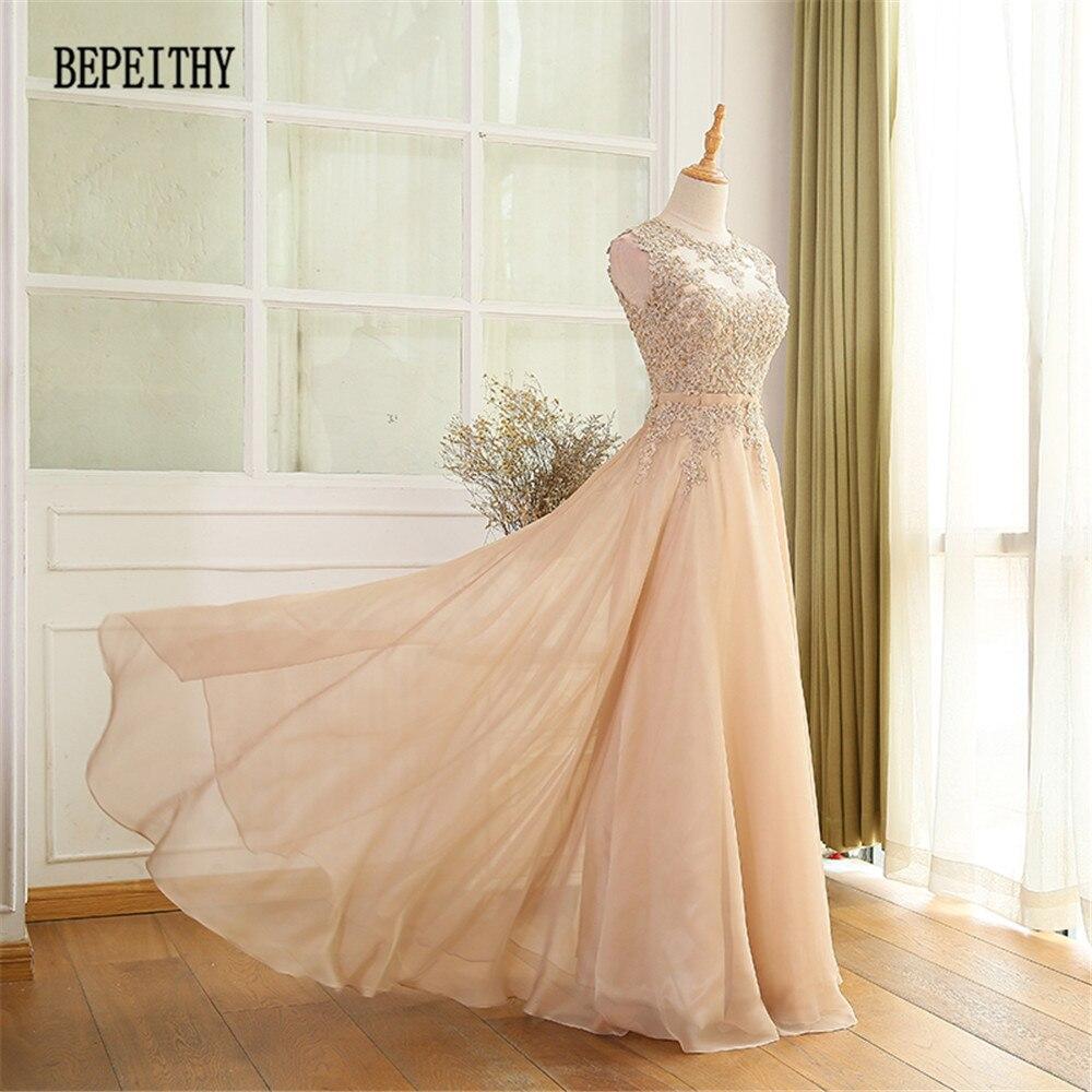 BEPEITHY Factory Direct Sales Chiffon Long   Prom     Dresses   Vestido De Festa Lace Top Elegant Evening Party   Dress   2019