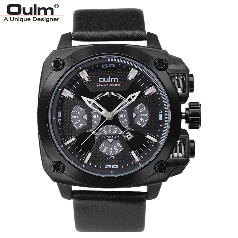 Oulm Brand Men Leather Strap Quartz Watch Fashion Male Army Military Sports Waterproof Male Wristwatches Big Dial Cool Clock oulm brand vogue men leather strap quartz watch waterproof big dial alloy male wristwatch with 3 small dials for decoration