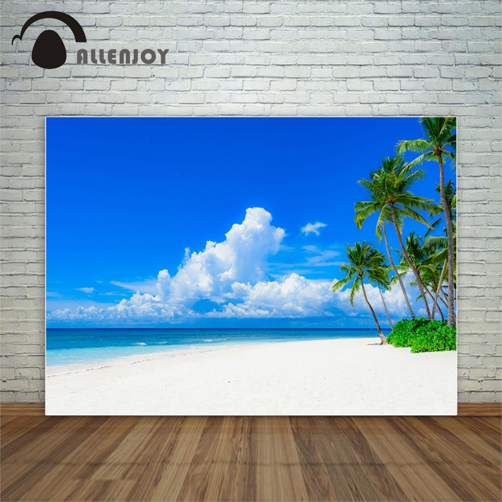 Allenjoy Island beach tropical tree clouds blue sky sand photocall decorations for home photography studio funds